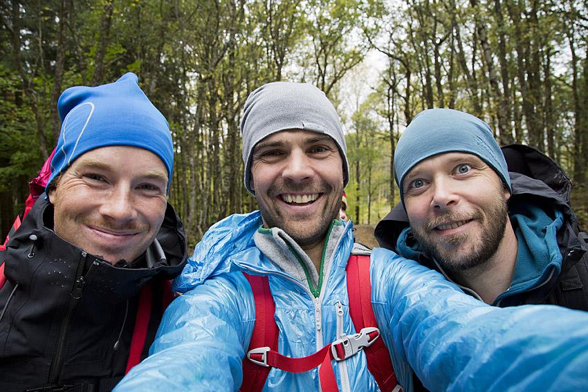 Papporna på promenad. Andreas, Fredrik och Erik.